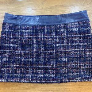 Abercrombie & Fitch Tweed and Leather Navy Skirt